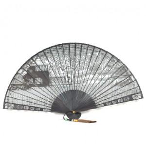 Suzhou Garden Ebony Small Fan