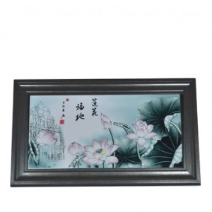 Porcelain tiles painted with images of Macao's World Heritage sites and a lotus in a Chinese style wooden frame. (73cms(L)*43cms(W))