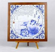 Porcelain tiles painted with an image of Macao's World Heritage sites in a Chinese style wooden frame (50cms x*50cms)