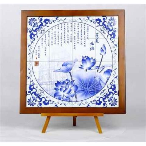 """Quadro grande com azulejos de imagens de """"Macau Património Mundial"""""""
