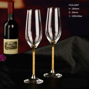 金色香檳杯金箔水晶酒杯结婚礼物进口无铅香檳杯高档