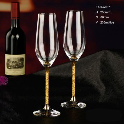 金色香檳杯金箔水晶酒杯結婚禮物進口無鉛香檳杯高檔