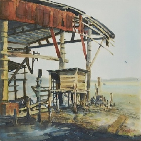 Having been prosperous – Live Drawing at the deserted dockyard in Coloane 1