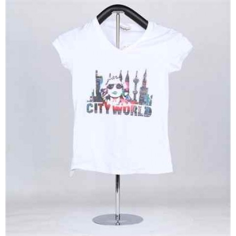 Round neck, short sleeved women's t-shirt ko-206