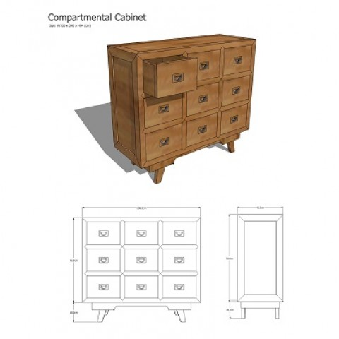 Elm Wood Cabinet with Nine Compartments 1