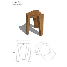 Elm Wood Hexagonal Stool 1