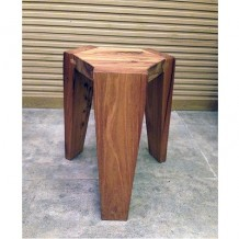 Elm Wood Hexagonal Stool 1a