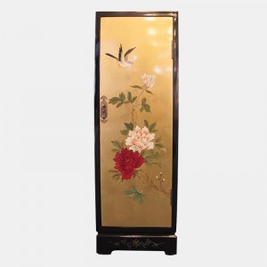 Mesa de apoio com desenhos de flores e pássaros (cor dourada)