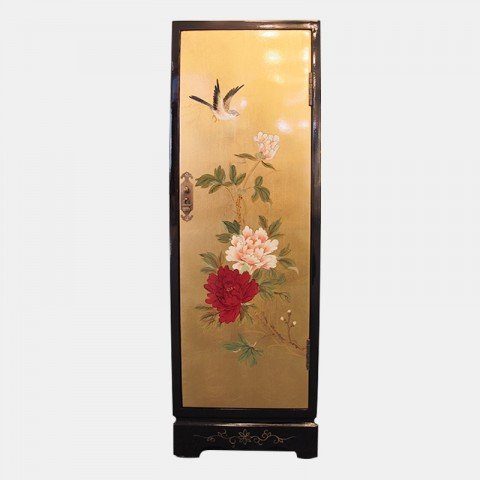 Gilded Side Table with Graphics of Flowers and Birds