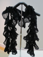 Black Patterned Flower Scarf