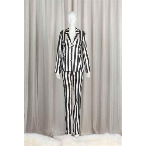 黑白条纹套装(褛+裤)