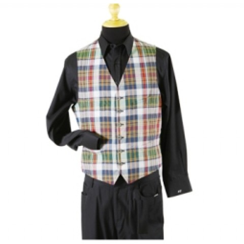 Dark Check Man Vest Jacket
