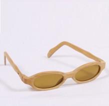 木制眼镜 (浅啡墨绿色细圆形镜片)
