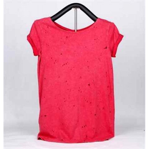 Ladies Knitted Short Sleeve T-shirt (Red)