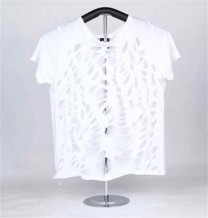 Ladies Knitted Short Sleeve T-Shirt (White)