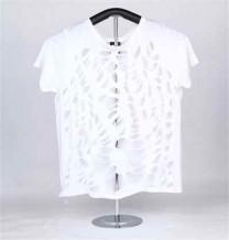 T-shirt de Malha de Senhora de Manga Curta (Branco)
