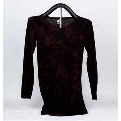 Ladies Knitted Three-Quarter-Length Sleeve T-Shirt (Purple and Red)
