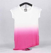 Ladies Knitted Short Sleeve T-Shirt (Pink & White with Stars)