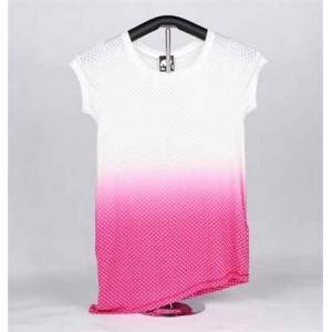 T-shirt de Malha de Senhora de Manga Curta (Cor-de-Rosa e Branca com Estrelas)