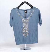 T-shirt de Malha de Senhora de Manga Curta (Azul)