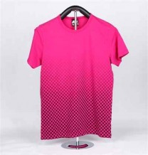 Ladies Knitted Short Sleeve T-Shirt with Flowers Printing (Pink & Check)