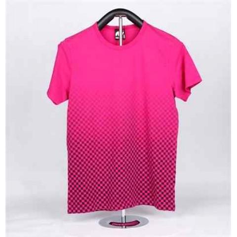 女装棉织印花短袖 T-恤 (粉红格格)