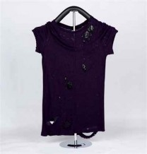 Ladies Knitted Short Sleeve T-Shirt (Purple)