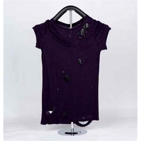 Ladies Knitted Short Sleeve T-Shirt (Purple)