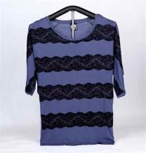 女装棉织印花短袖 T-恤 (蓝色蕾丝)