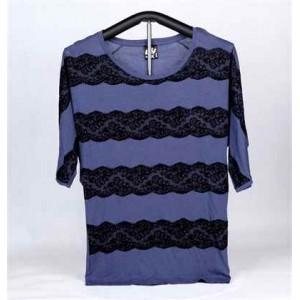 女裝棉織印花短袖 T-恤 (藍色蕾絲)