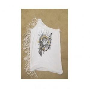 白色單肩T恤