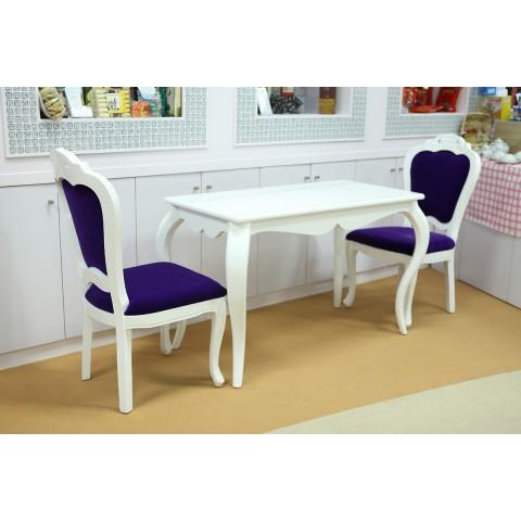 二人白色餐枱连紫色椅