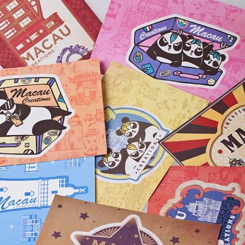 熊猫游世界-怀旧贴纸明信片