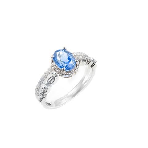 18K白金 藍寶石,鑽石戒指