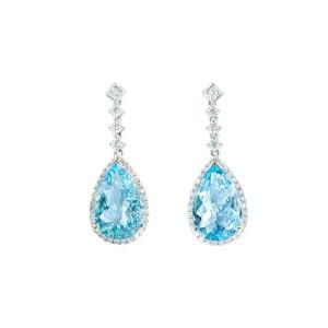 18K白金 海蓝宝石,钻石耳环