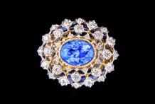 18K白金 蓝宝石(无烧),钻石戒指