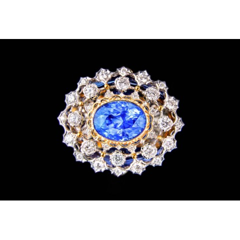 18K白金 藍寶石(無燒),鑽石戒指
