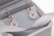 18KRG Jade&Pearl&Ruby  Earring
