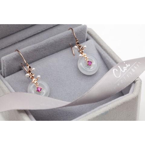 18K玫瑰金翡翠,珍珠,红宝石耳环