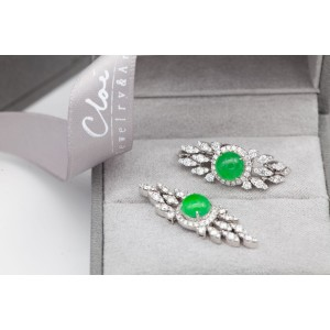 18KWG Jade&Diamonds  Earring