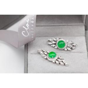 18K白金 天然翡翠鑽石耳環