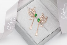 18KRG Jade&Diamonds  Earring