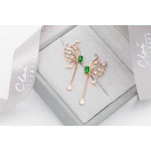 18K玫瑰金 天然翡翠鑽石耳環