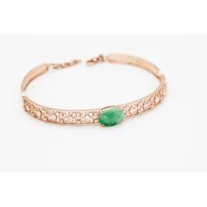 18KRG Jade&Diamonds  Bangle