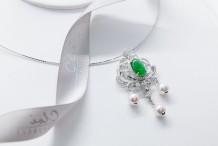 18K白金 天然翡翠,钻石,Akoya珍珠链坠