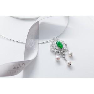 18K白金 天然翡翠,鑽石,Akoya珍珠鏈墜