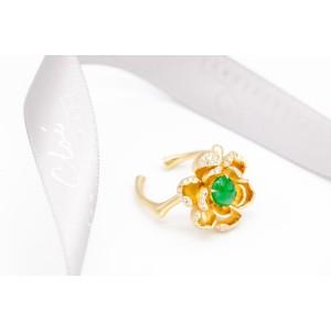 18K黃金 天然翡翠,鑽石戒指