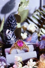 18KRG Pink Sapphire&Diamonds Ring