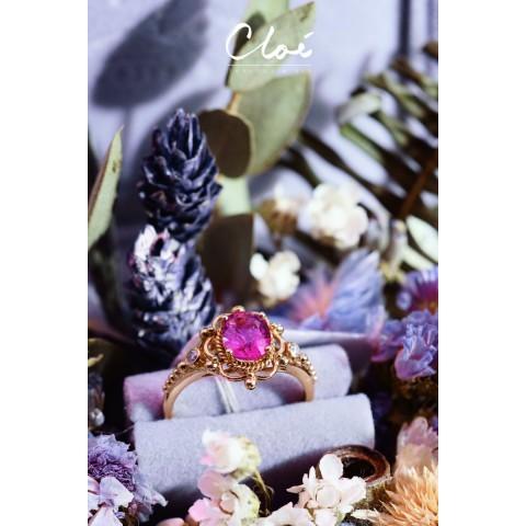 18KRG Pink Sapphire&Diamonds Ring