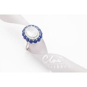 18K白金天然翡翠,藍寶石,鑽石戒指